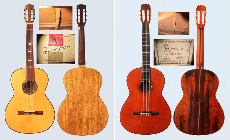 Classical guitars: 1963 Zen-On Z32 and 1971 Alvarez by Kazuo Yairi Model No 5037