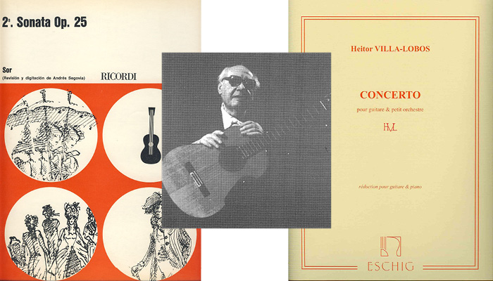 classical guitarist andres segovia and two of his books