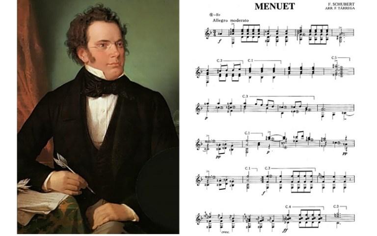 Classical guitar music to play schubert menuet