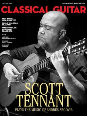 Scott Tennant playing a classical guitar with his eyes closed on the cover of Issue 384 of Classical Guitar magazine