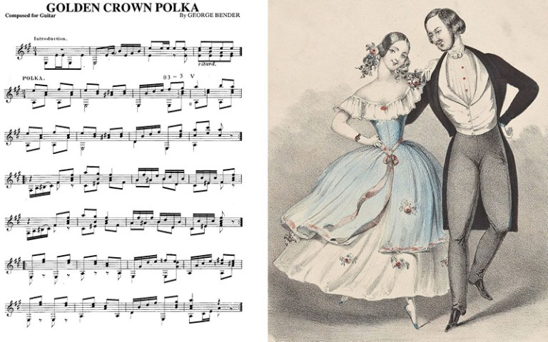 classical guitar notation for golden crown polka with dancers