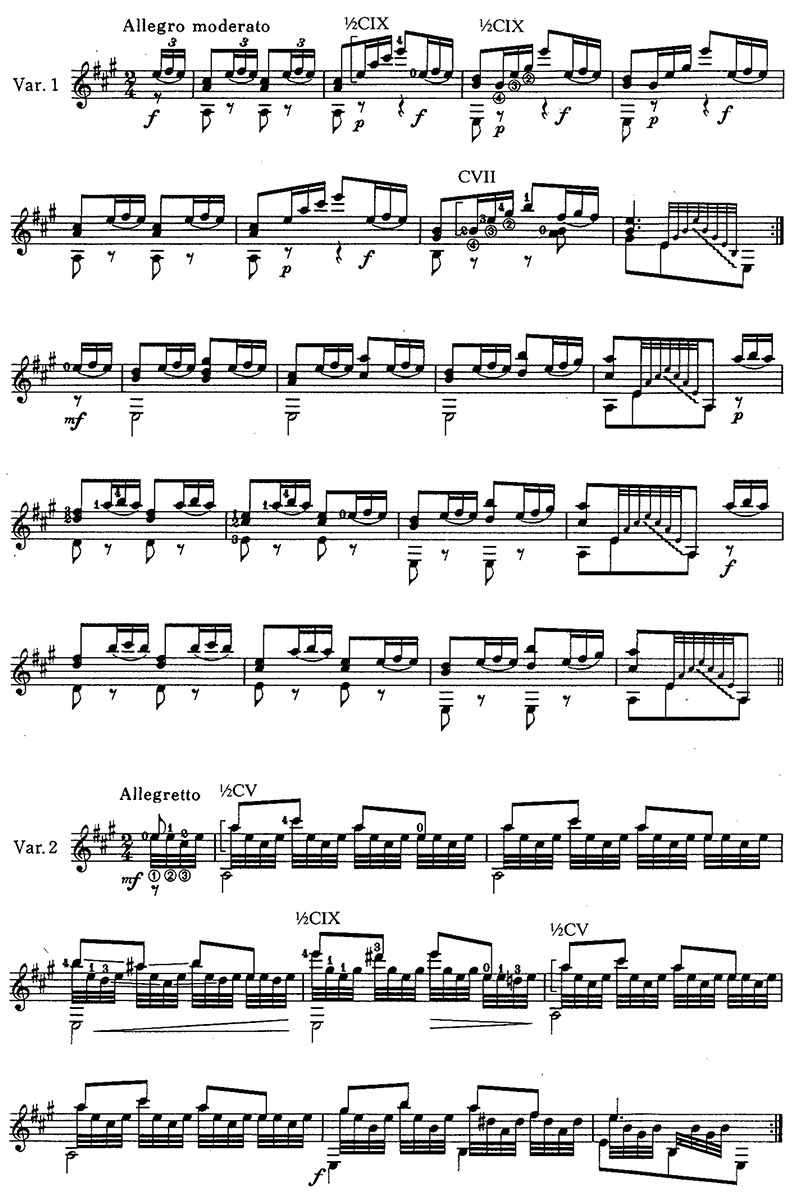 Karl Friesznegg's Variations on a Theme by Schubert, 'The Trout' classical guitar sheet music page 2