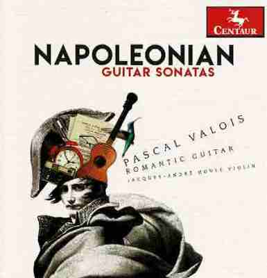 The cover of classical guitarist Pascal Valois' album Napoleonian Guitar Sonatas with abstract art