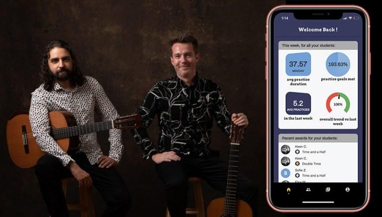 practice space app screenshot with classical guitarist creators