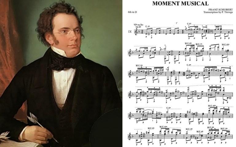 Classical guitar music schubert moment musical
