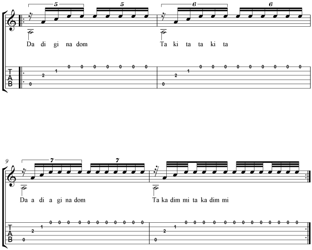 Carcassi No. 2 Tuplet rhythmic patterns