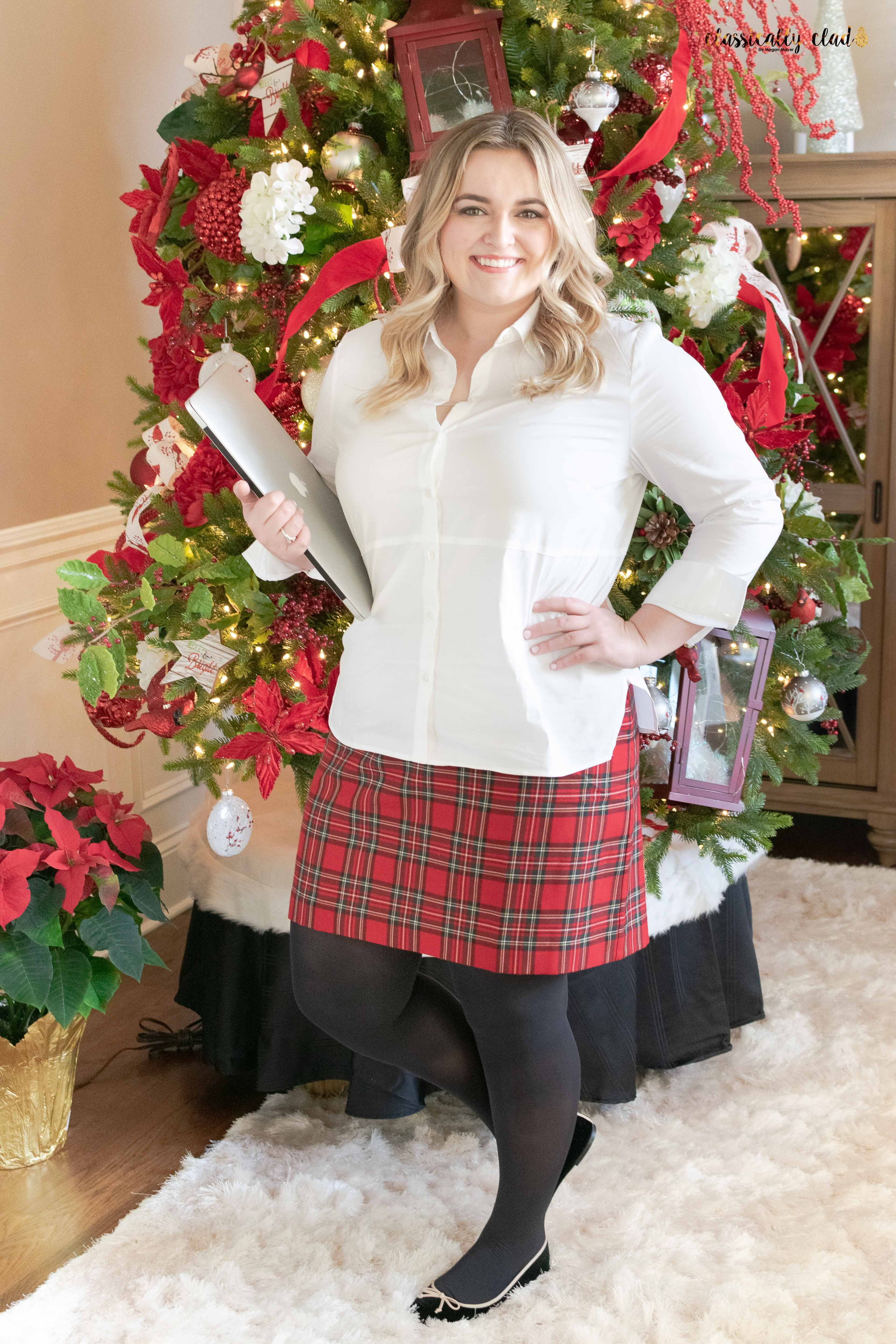 How To Style A Plaid Skirt - to work