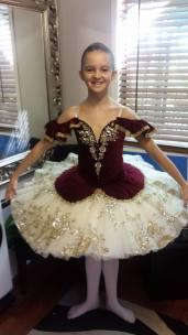 Classical Ballet Tutu - non stretch tutu - burgandy, gold and cream