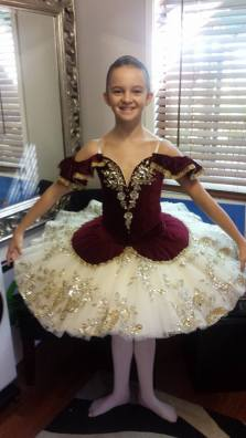 Classical Ballet Tutu - non stretch tutu - burgandy, gold and cream