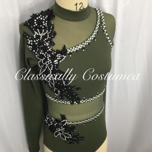 Olive Green and Black Contemporary Dance Costume