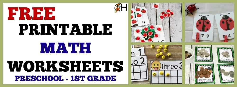 medium resolution of Free Printable Math Worksheets for Preschool – 1st Grade – Classically  Homeschooling