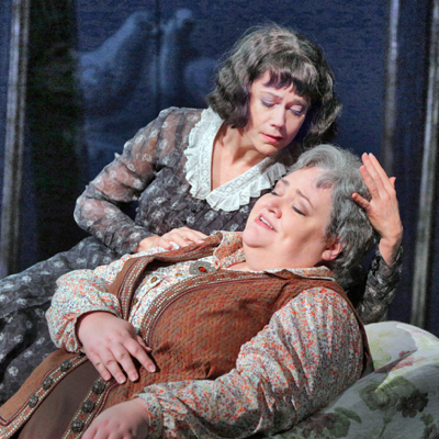 Toklas caresses Stein in the new opera '27' in St. Louis.
