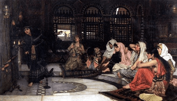 Consulting the Oracle by John William Waterhouse, showing eight priestesses in a temple of prophecy
