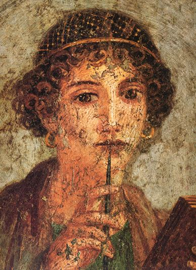 Painting of Sappho in Pompeii