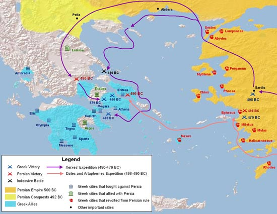 Map of the Greco Persian wars
