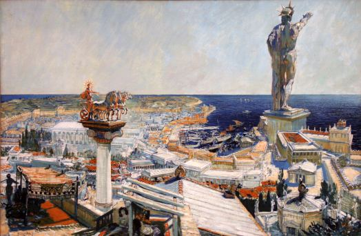 Painting of the Statue in Rhodes