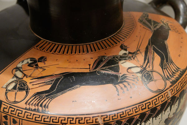 Chariot race on pottery