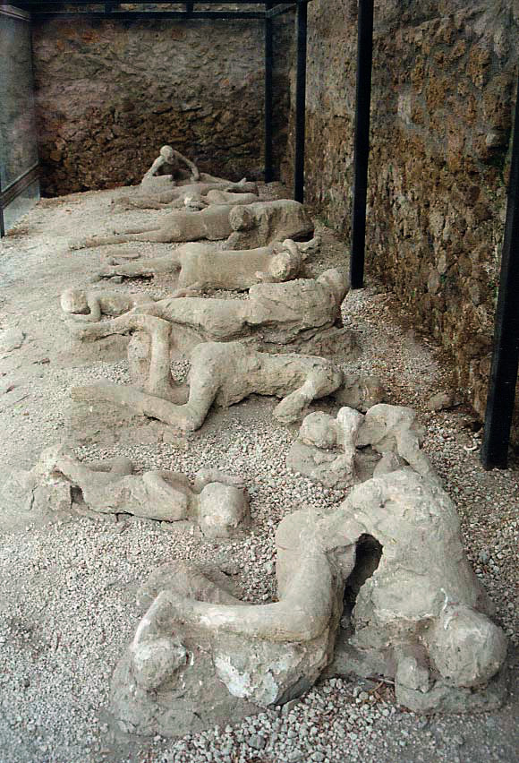 Plaster casts of the victims of the volcano