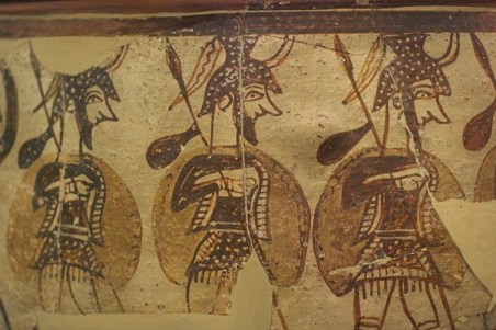 Mycenaean soldiers from a fresco c 1300 BC