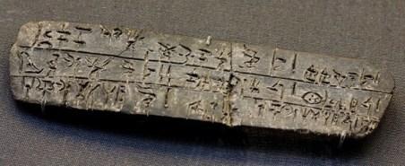 Linear- B script on a baked clay tablet