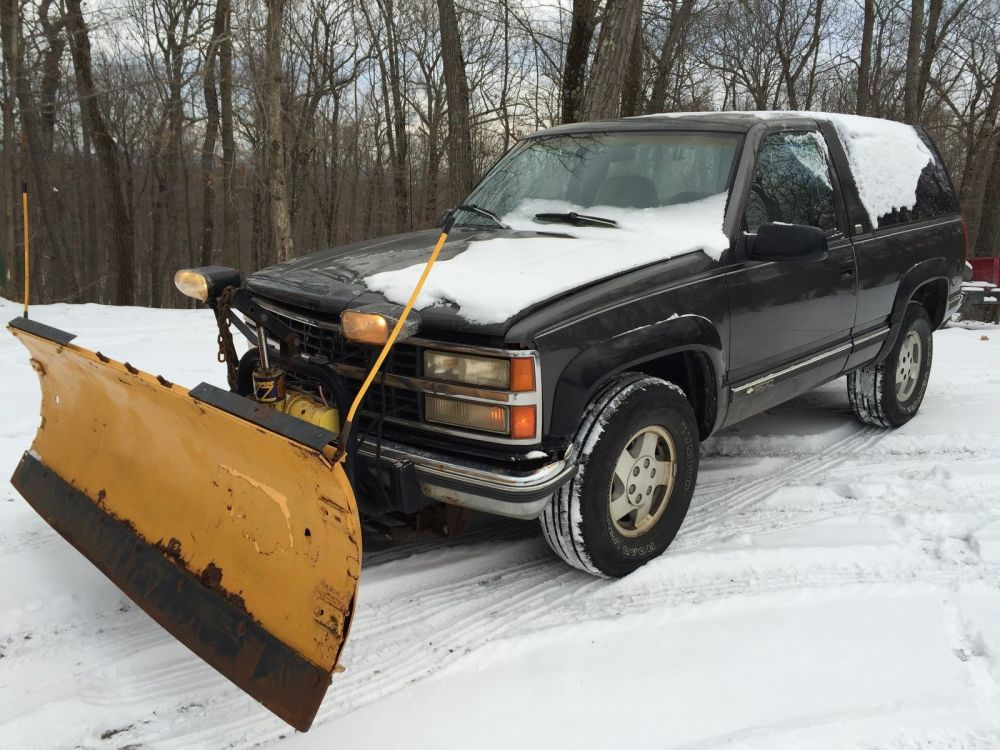 medium resolution of 1992 chevy k1500 blazer 4x4 western snow plow runs good v8 yard shop farm truck