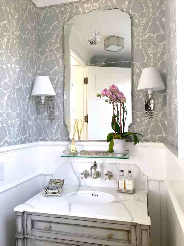 Gorgeous Gray And White Powder Room - Classic Casual Home