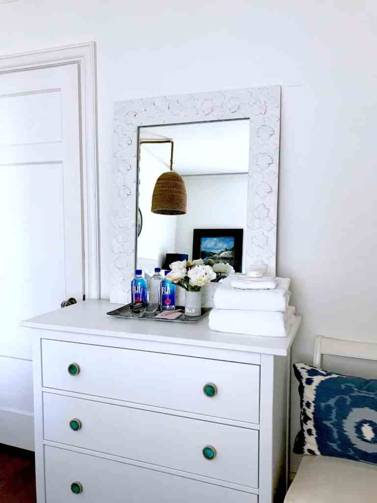 IKEA dresser with fresh towels for guest room