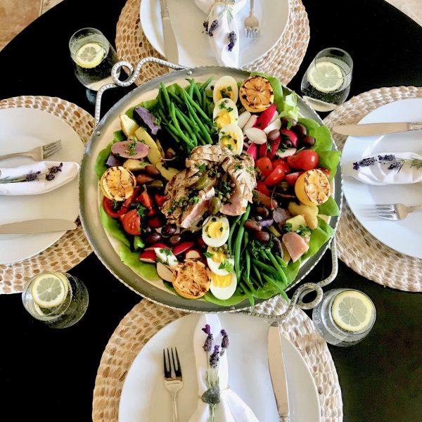 Salade Nicoise and table setting