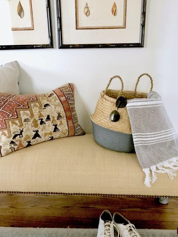 Summer essentials, straw bag and sunglasses