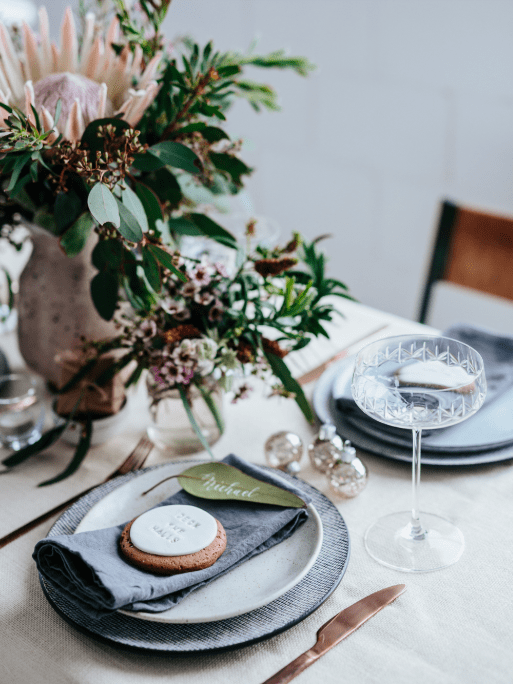 Gray and pink Christmas table setting