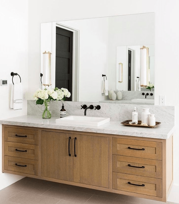 warm wood bathroom vanity