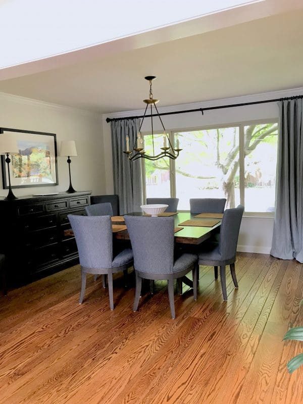 wood floors in blue gray dining room