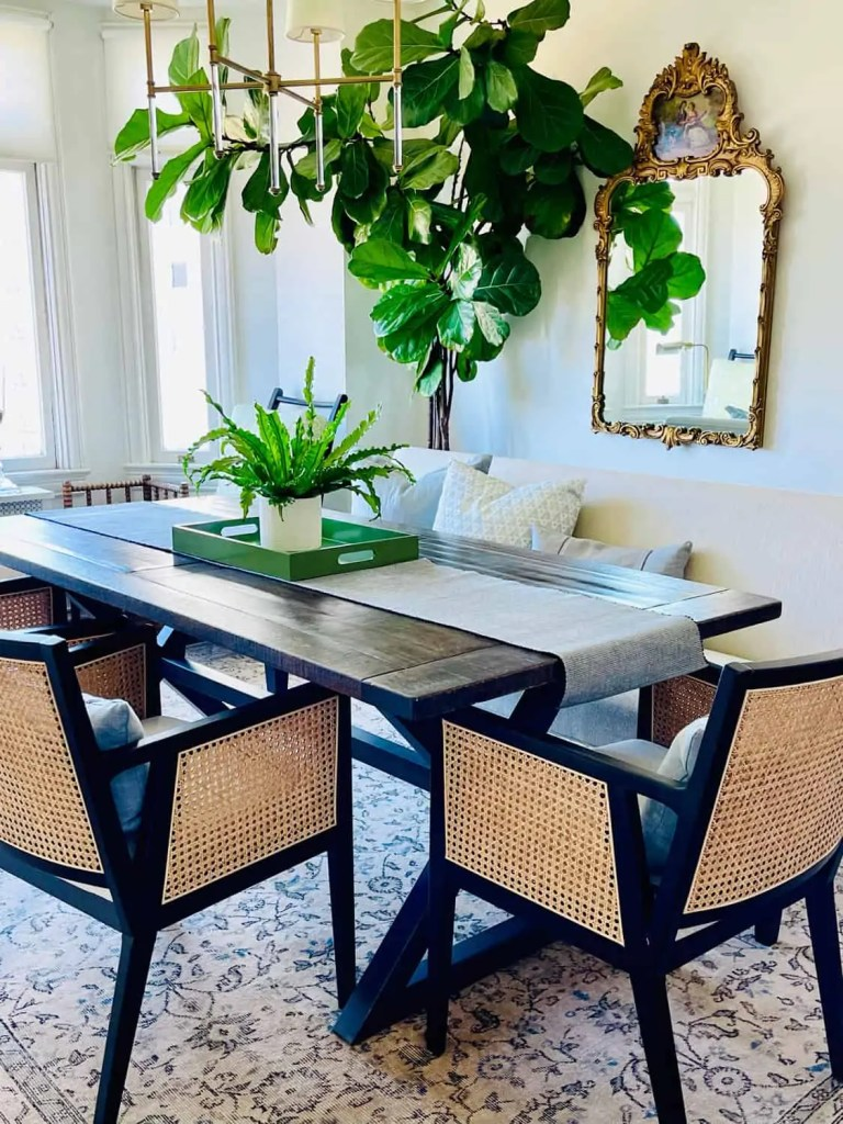 dining room in updated home tour