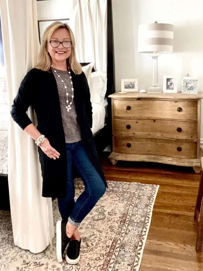 Over 50 Fashion Blogger Mary Ann Pickett in longe cardigan and jeans