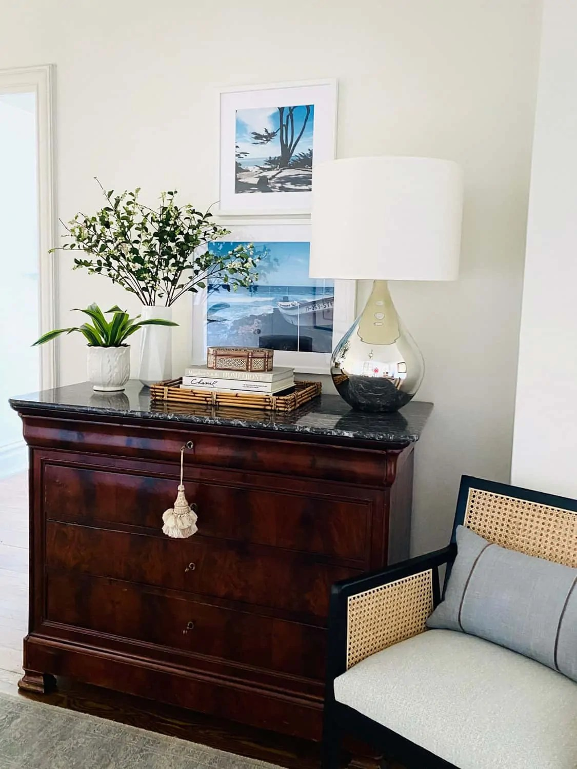 Styling an Antique chest in the foyer