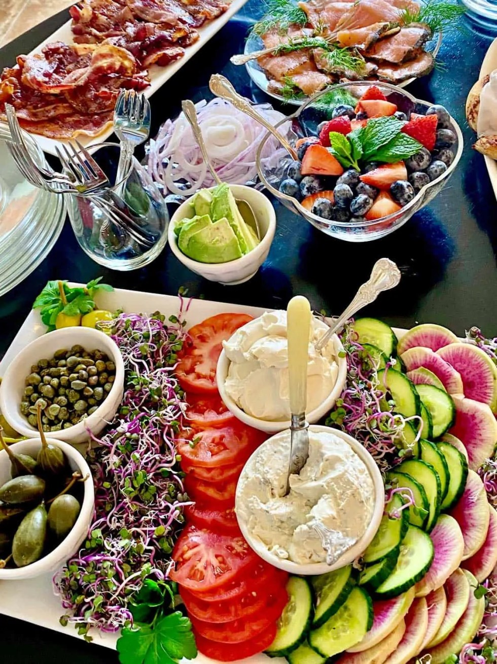 Bagels and Cream Cheese Buffet for Christmas Family Brunch