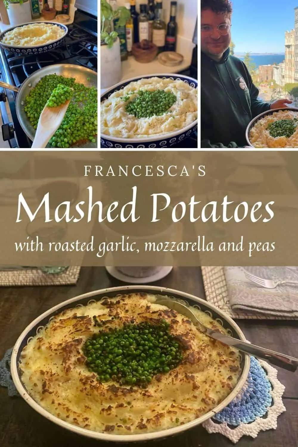 Mashed Potatoes with roasted garlic and peas