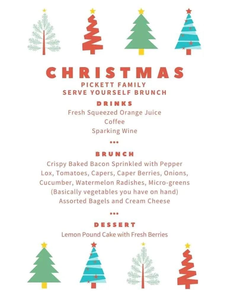 Mary Ann Pickett's Christmas Family Brunch menu