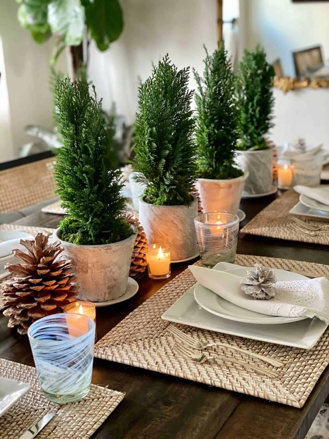 Lifestyle Blogger Mary Ann Pickett's Winter Table with Mini Cypress Trees and Pinecones