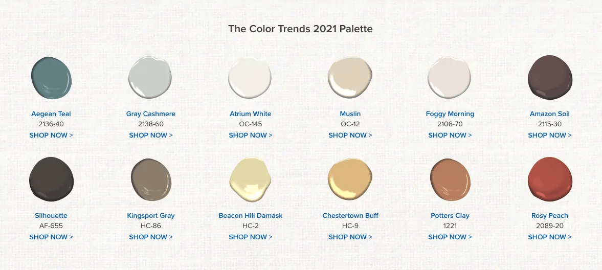 2021 Paint colors by Benjamin Moore