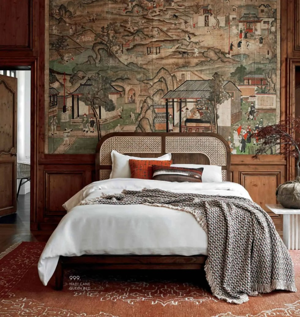 Caned bed with tapestry wall
