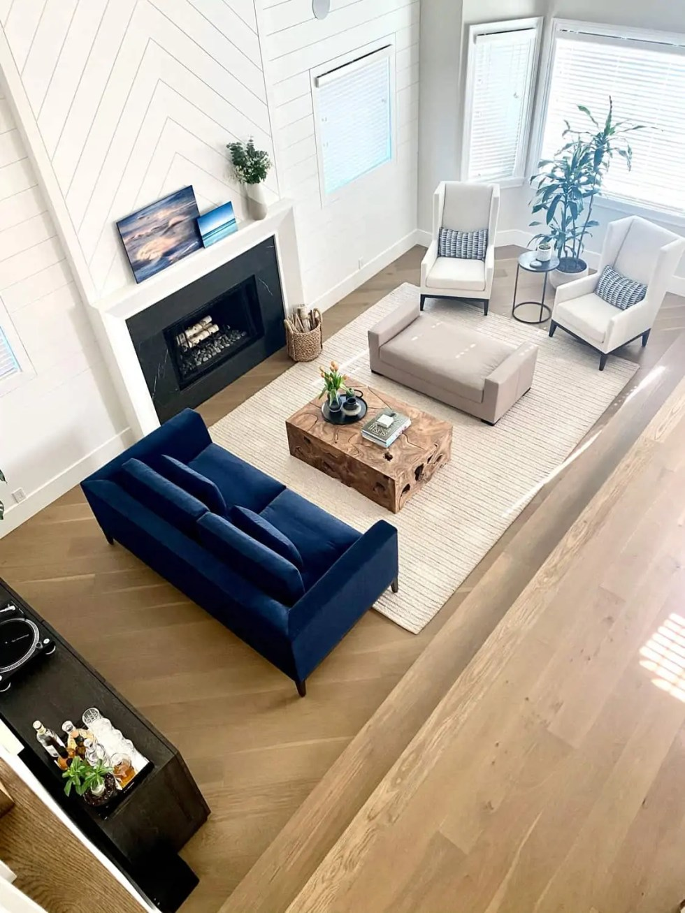 aerial view of narrow modern traditional living room