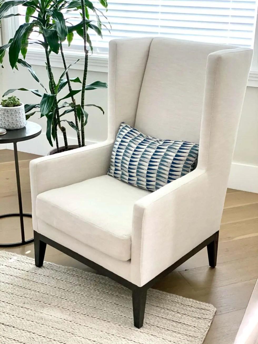 wing chair in Perennials linen
