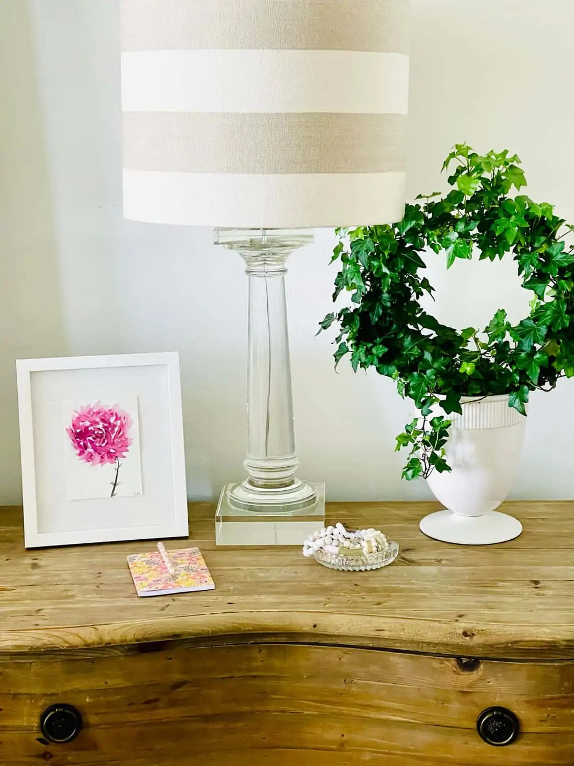 Bedside table styling by Mary Ann Pickett