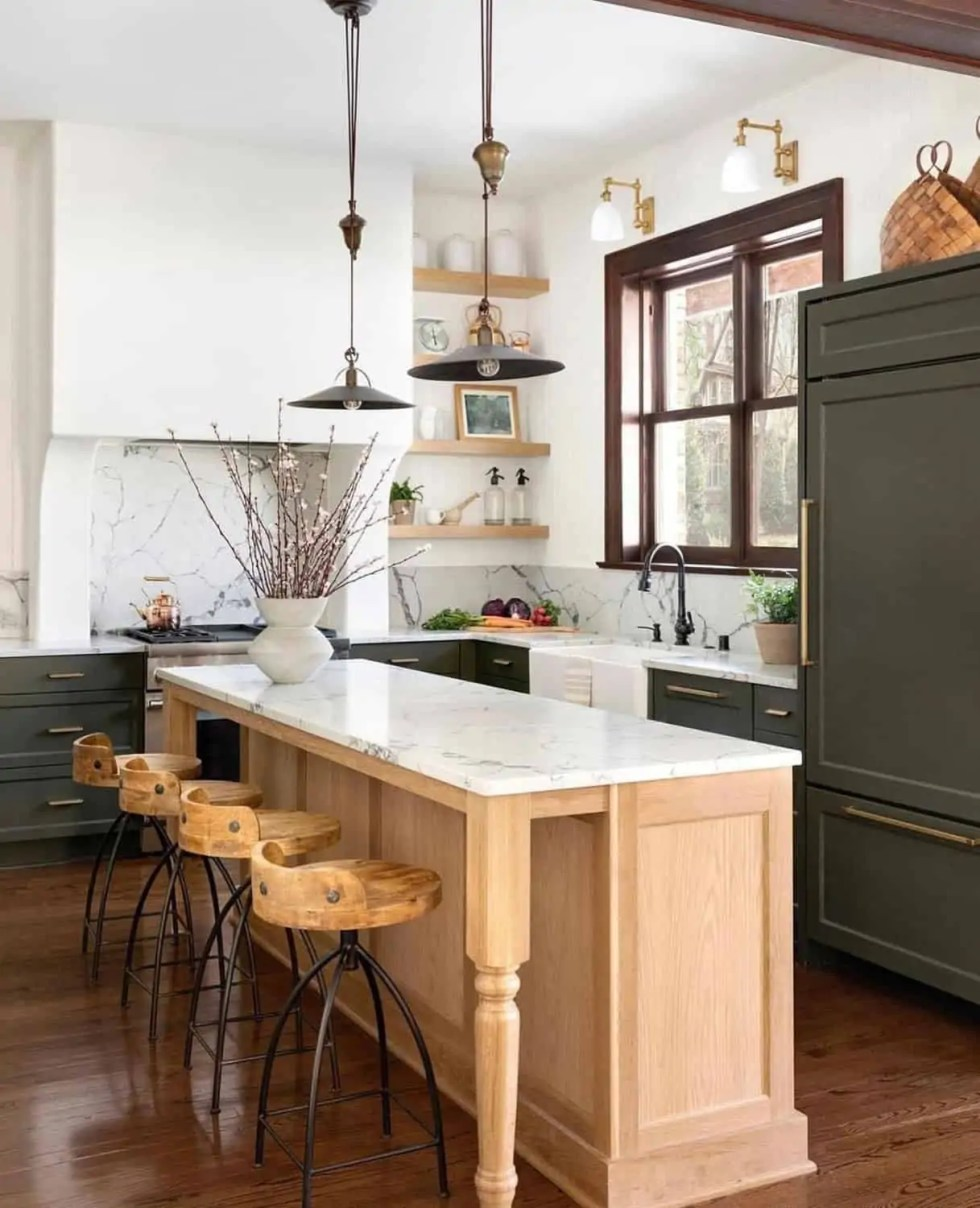 natural wood island, white marble counters