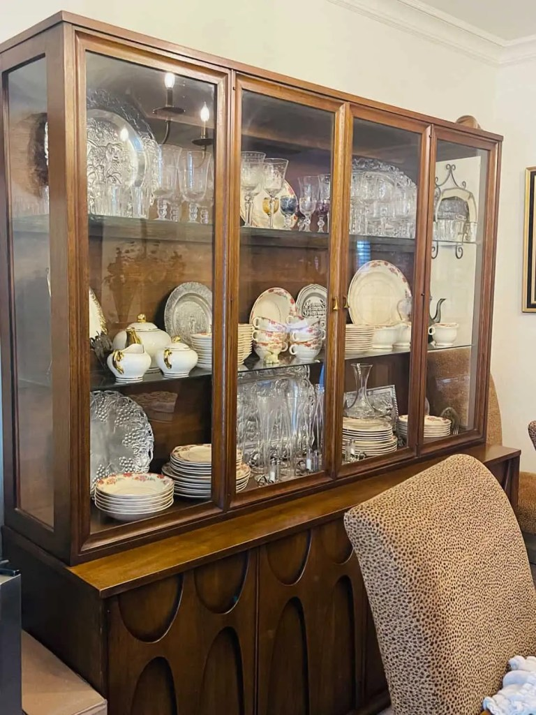 China hutch before Mary Ann Pickett styles it