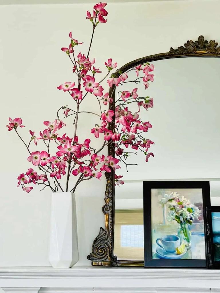 Pink Dogwood on mantel