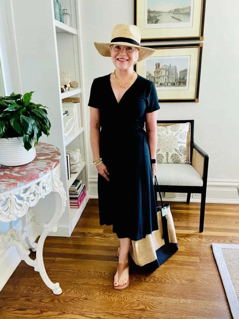 Mary Ann Pickett in Black Wrap dress