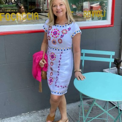Mary Ann Pickett In Boden Embroidered Dress