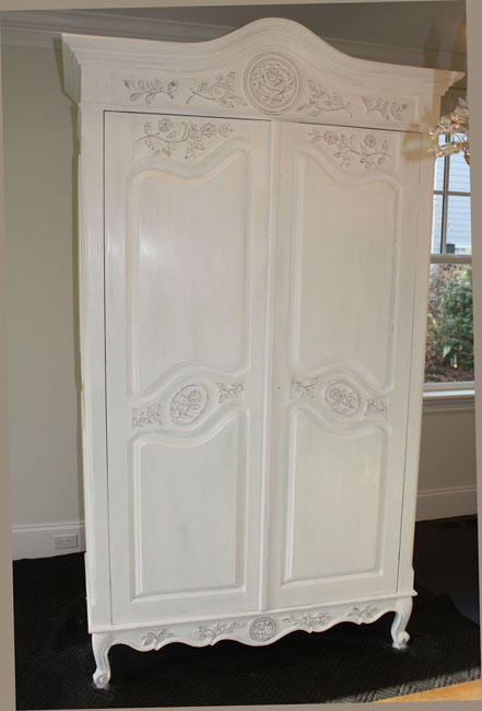 HandCarved Distressed Armoire  Classic Fauxs  Finishes